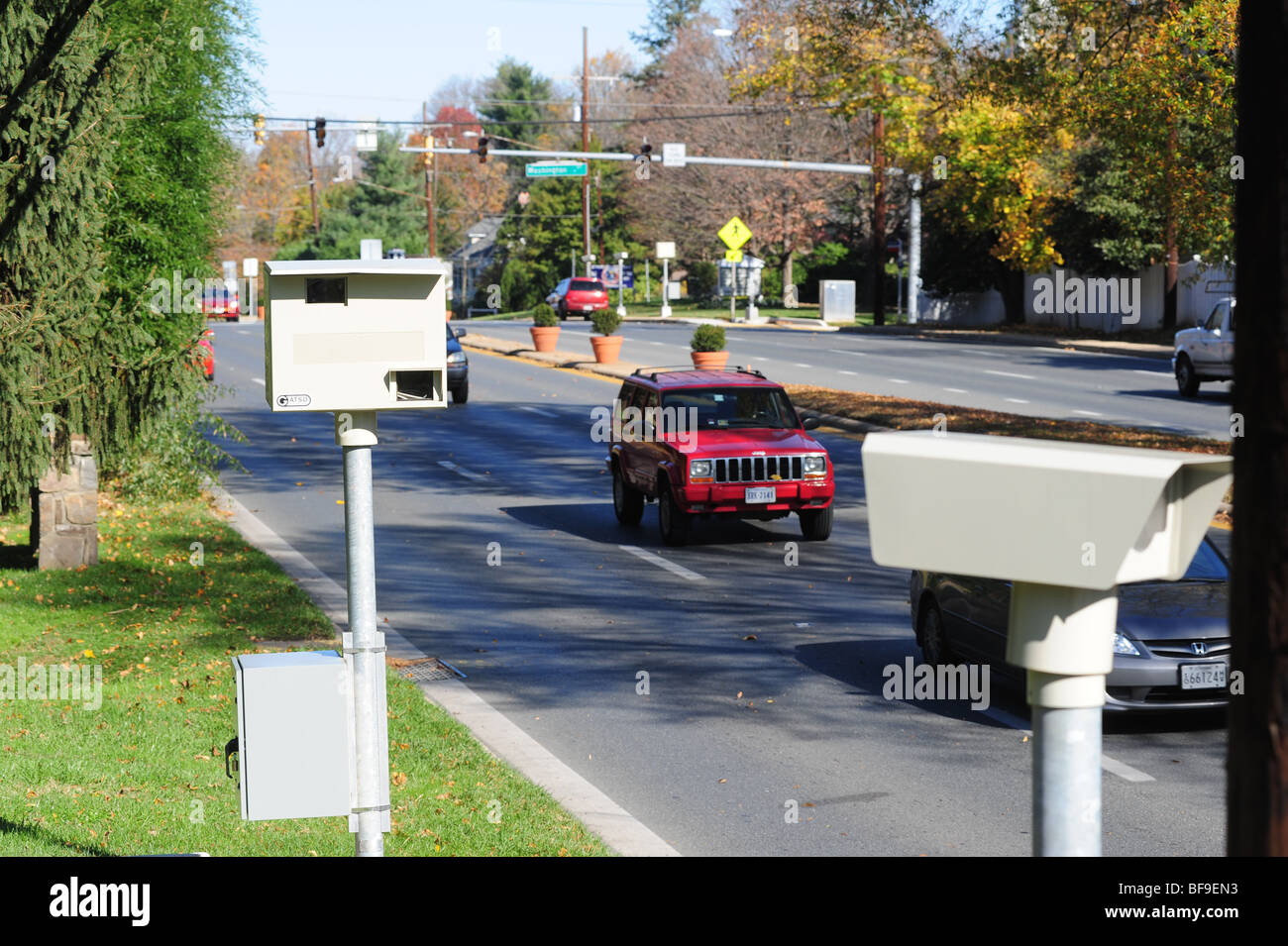USA Maryland - Automatic Speed Camera on a state road  speeders Stock Photo