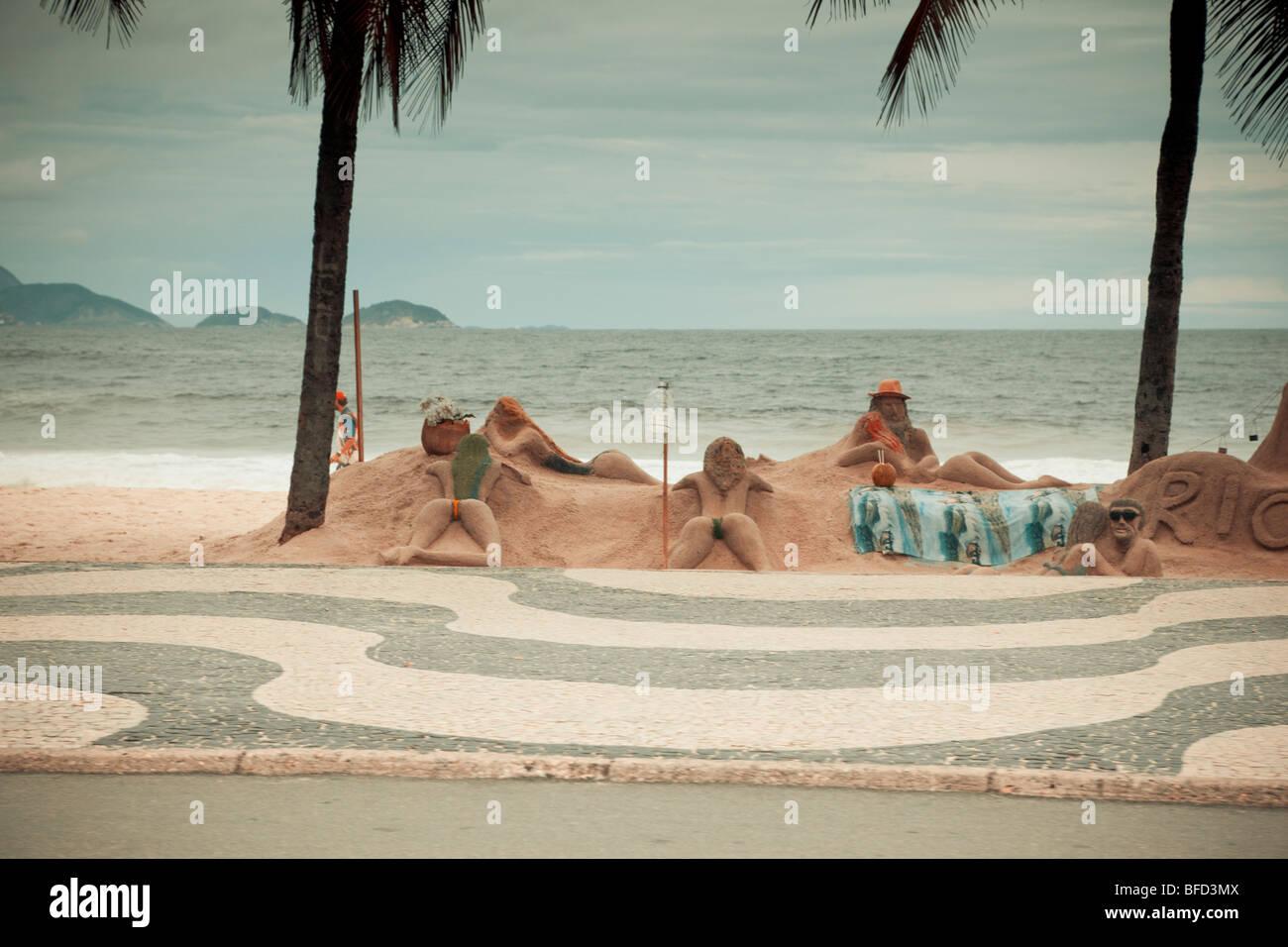 Beach sculptures Copacabana Rio De Janeiro Brazil - Stock Image