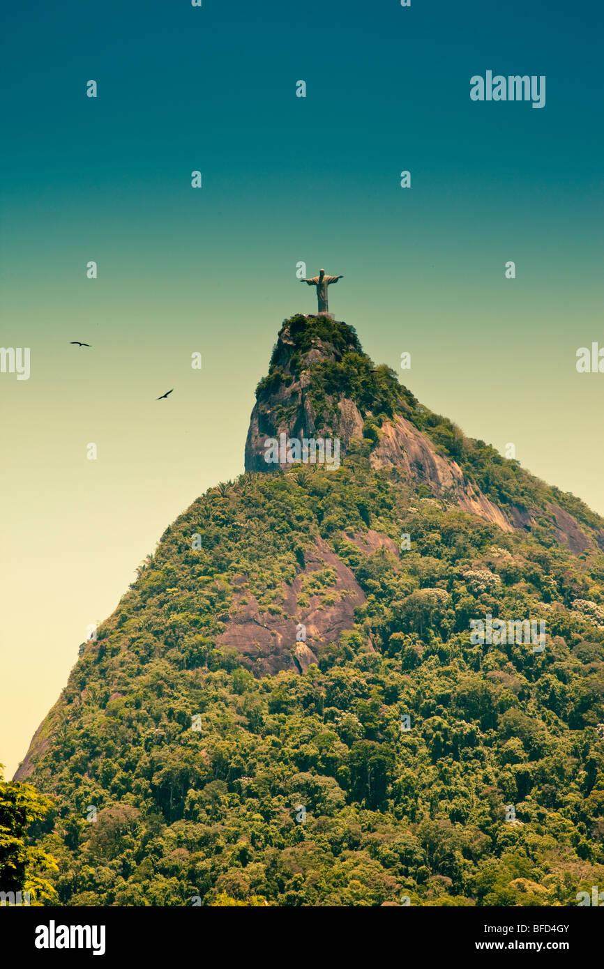 Corcovado and Jesus the Redeemer in Rio De Janeiro Brazil - Stock Image