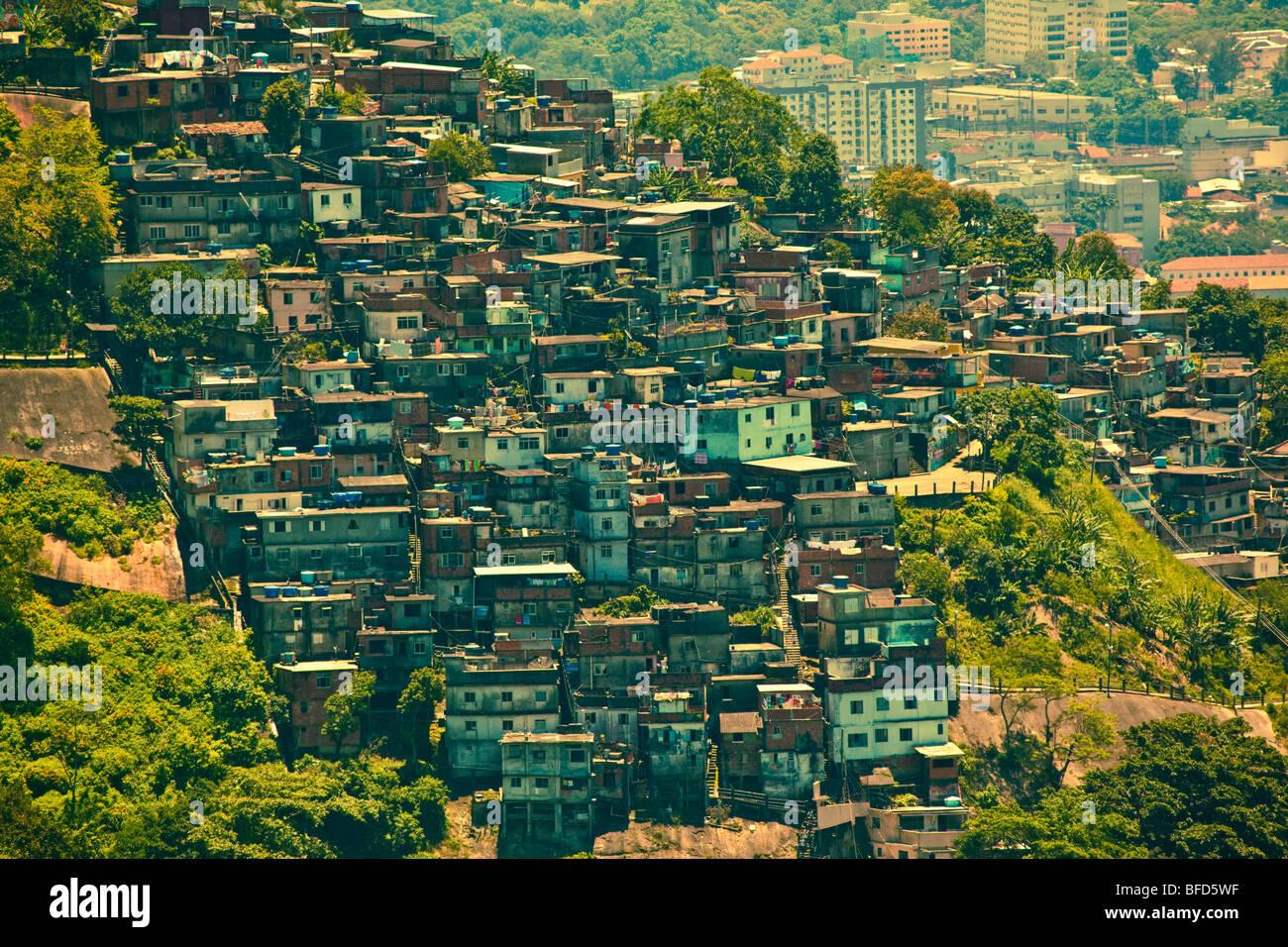 Favela or slum seen from Corcovado - Stock Image