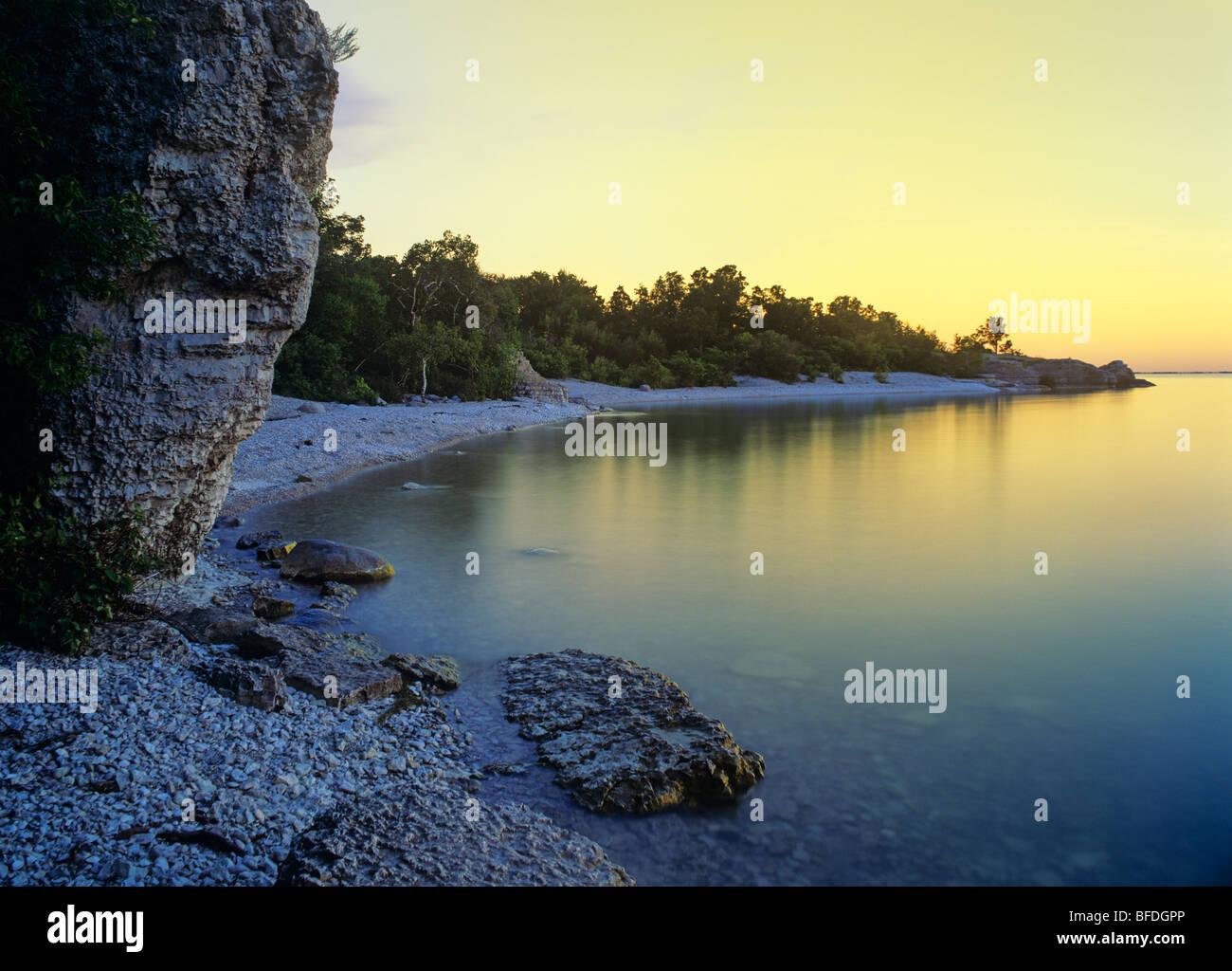 Sunrise at Steep Rock Beach Park, Manitoba, Canada - Stock Image