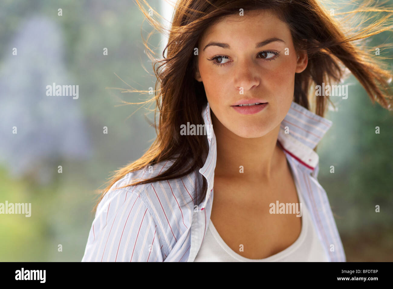 Thoughtful woman - Stock Image
