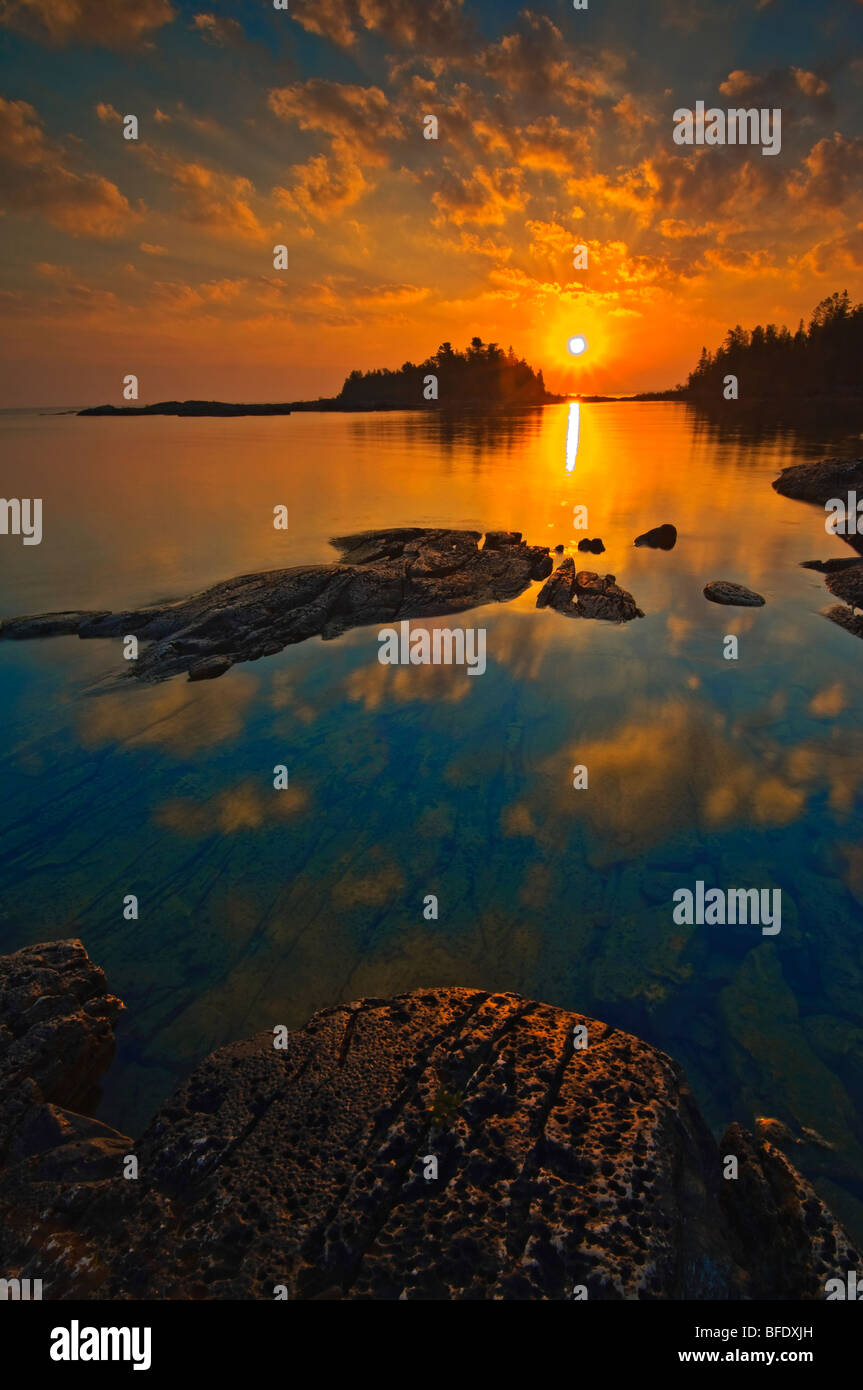 Sunrise at Burnt Point, Fathom Five National Marine Park, Ontario, Canada - Stock Image