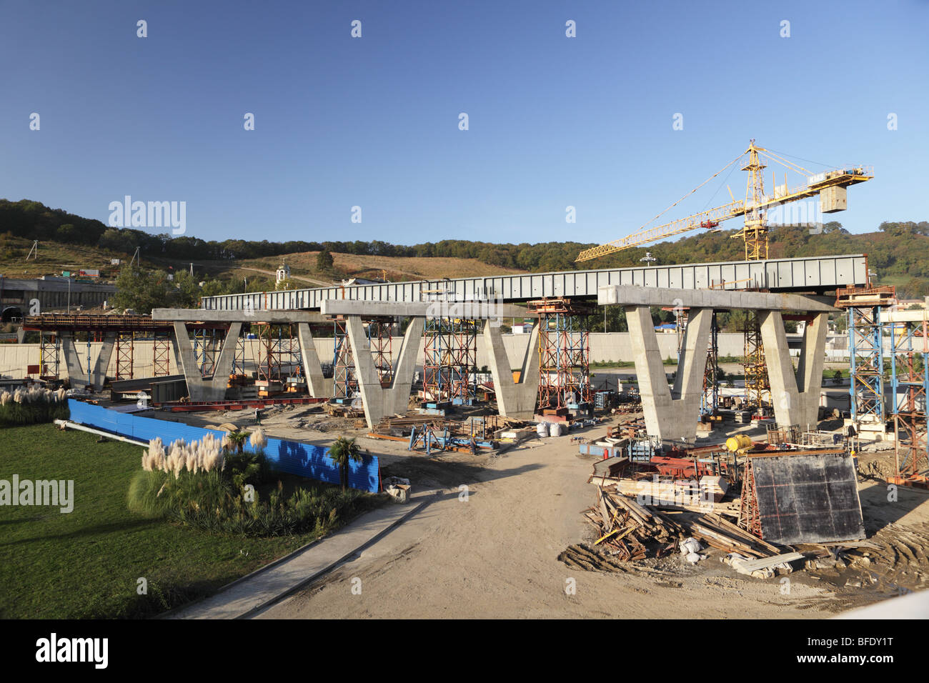 Construction of flyover near the new airport of Sochi, Russia - Stock Image