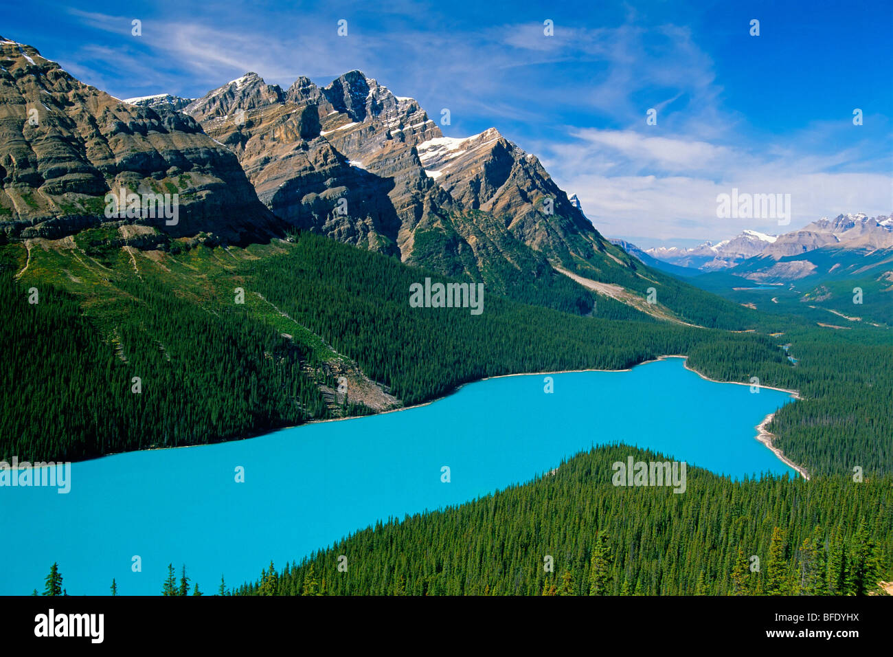 High angle view of Peyto Lake, Icefields Parkway, Banff National Park, Alberta, Canada - Stock Image