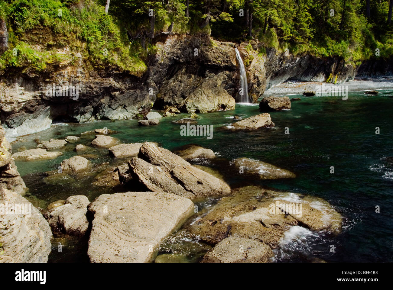 A waterfal, near Sombrio Beach on the Juan de Fuca Marine Trail, Vancouver Island, British Columbia, Canada - Stock Image