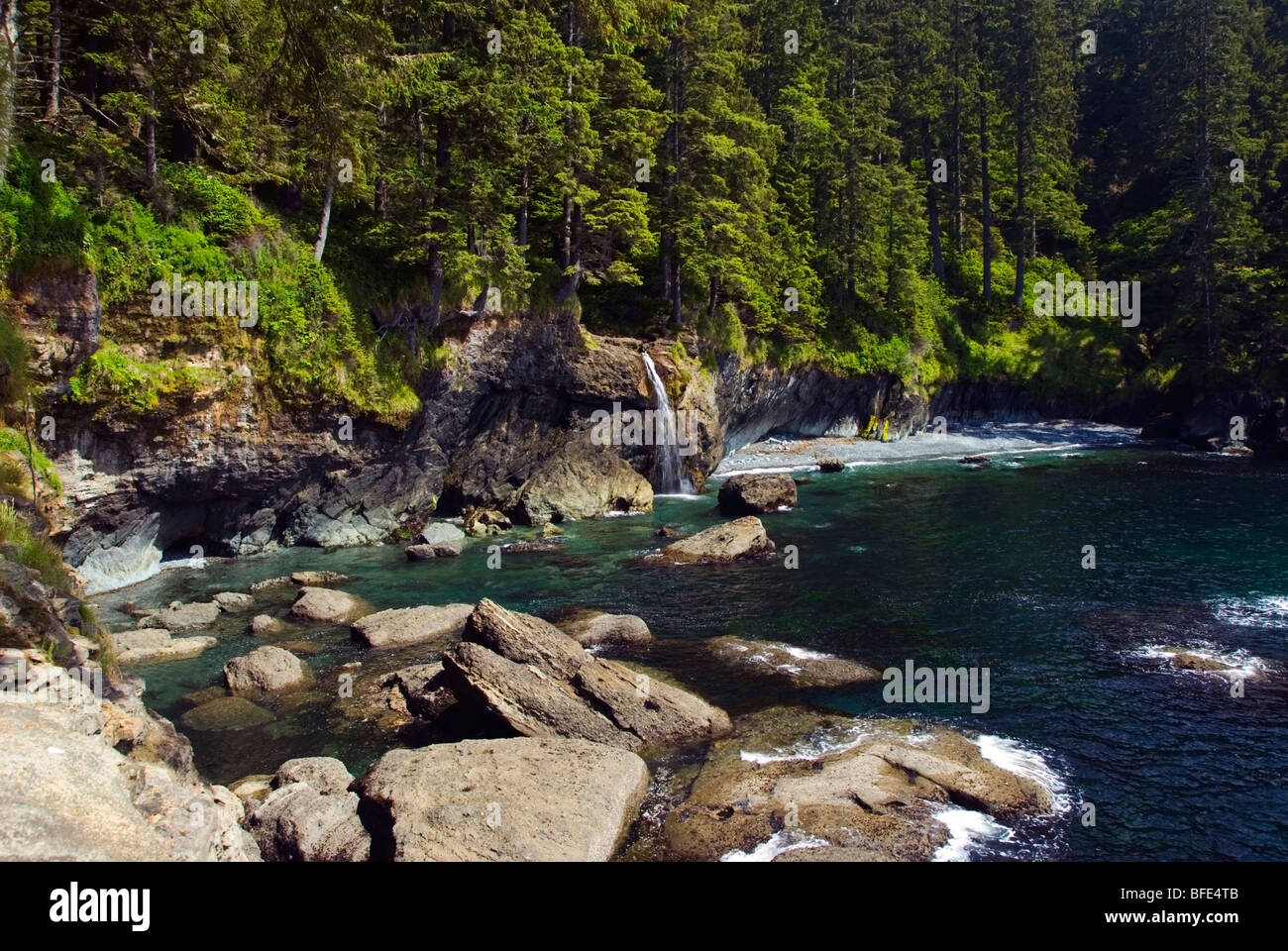 A waterfall,  Sombrio Beach on the Juan de Fuca Marine Trail, Vancouver Island, British Columbia, Canada - Stock Image
