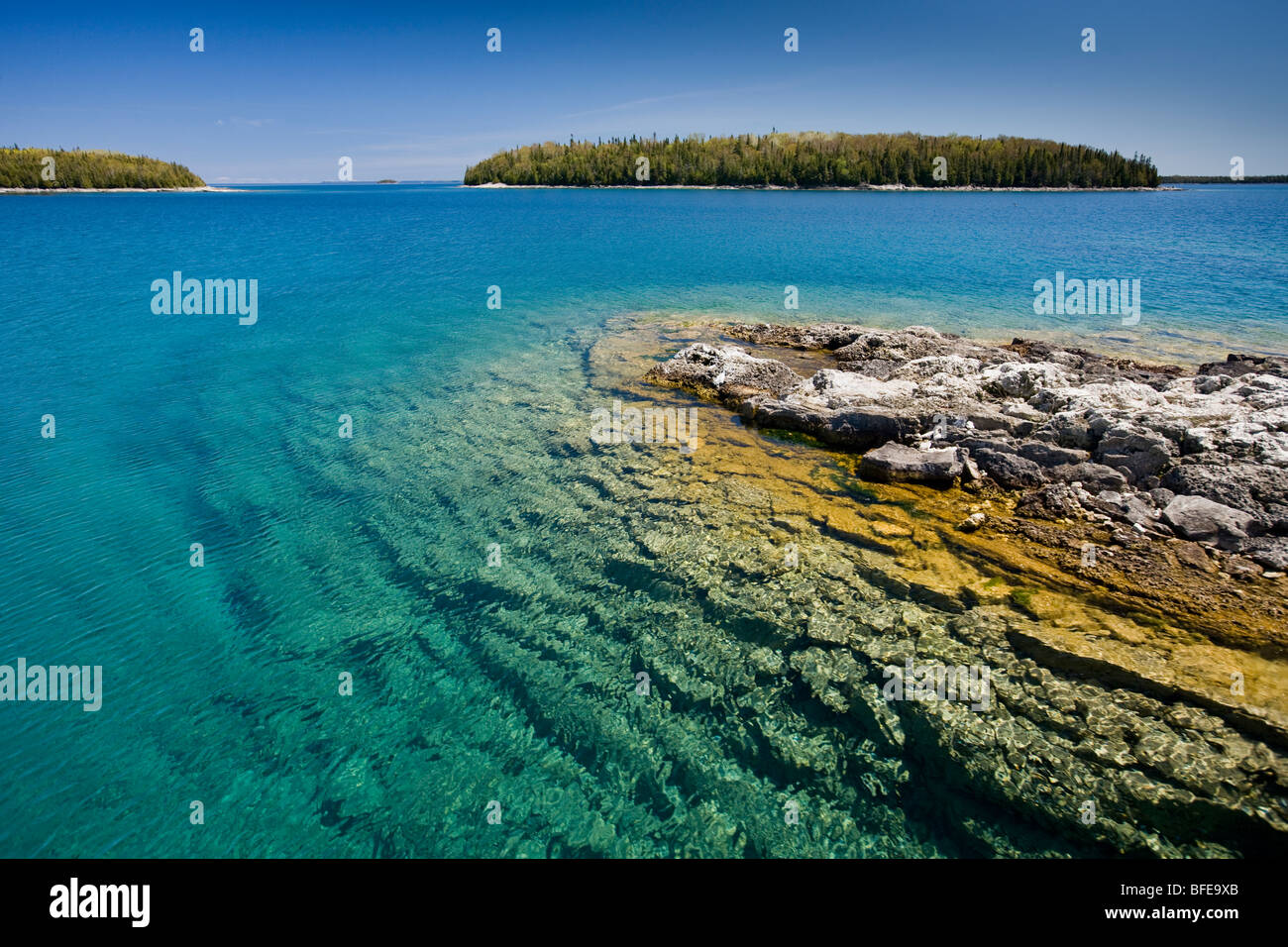 Small island in the Fathom Five National Marine Park, Lake Huron, Ontario, Canada - Stock Image