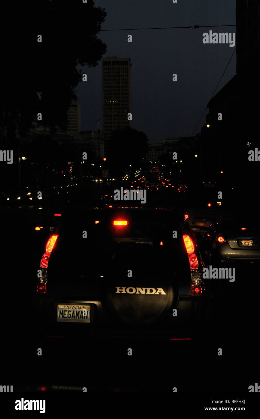 Cars on the highway 101 inside San Francisco - Stock Image