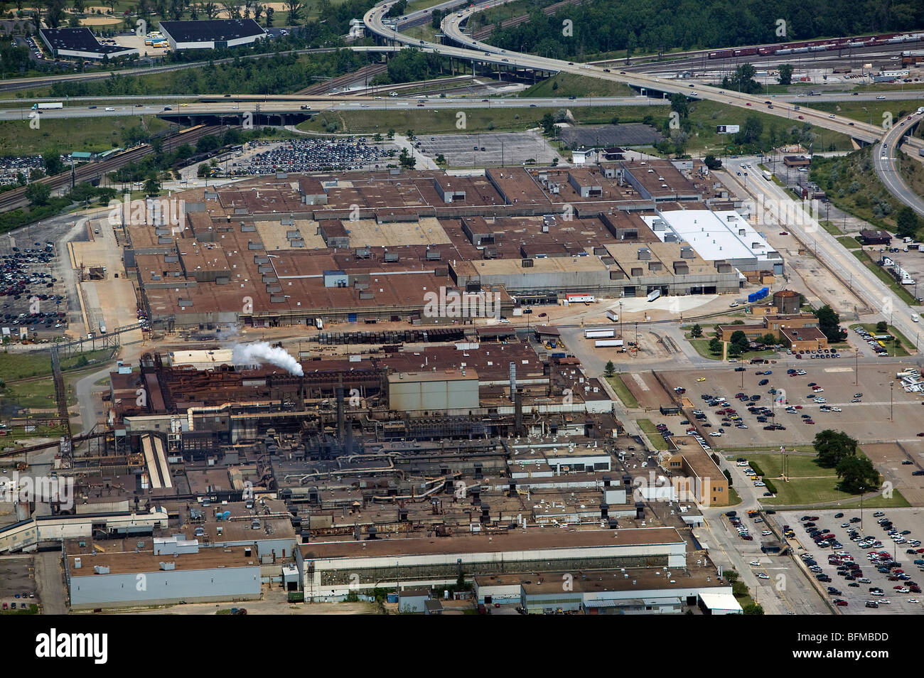 Aerial view above ford motor company engine plant casting plant brook park cleveland ohio