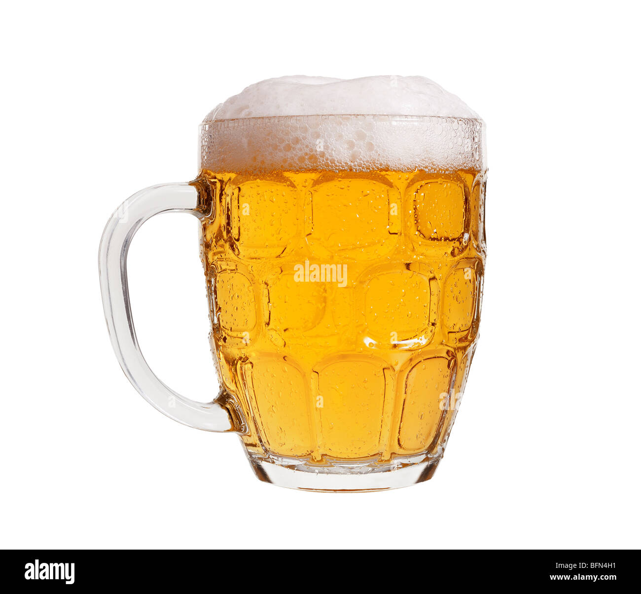 Glass of Beer Served in a Traditional English Pint Glass - Stock Image