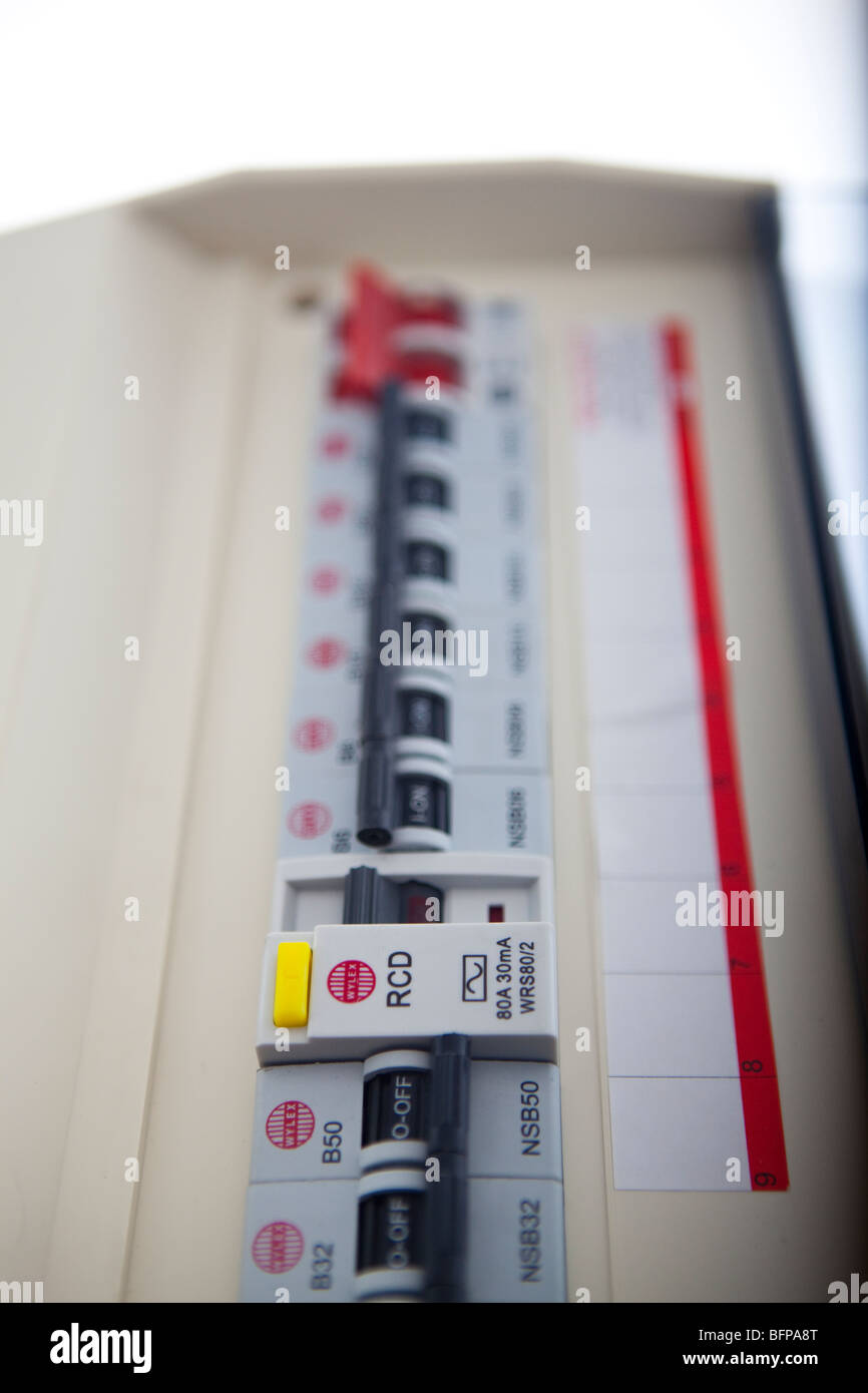 Consumer unit split load fuse board - Stock Image