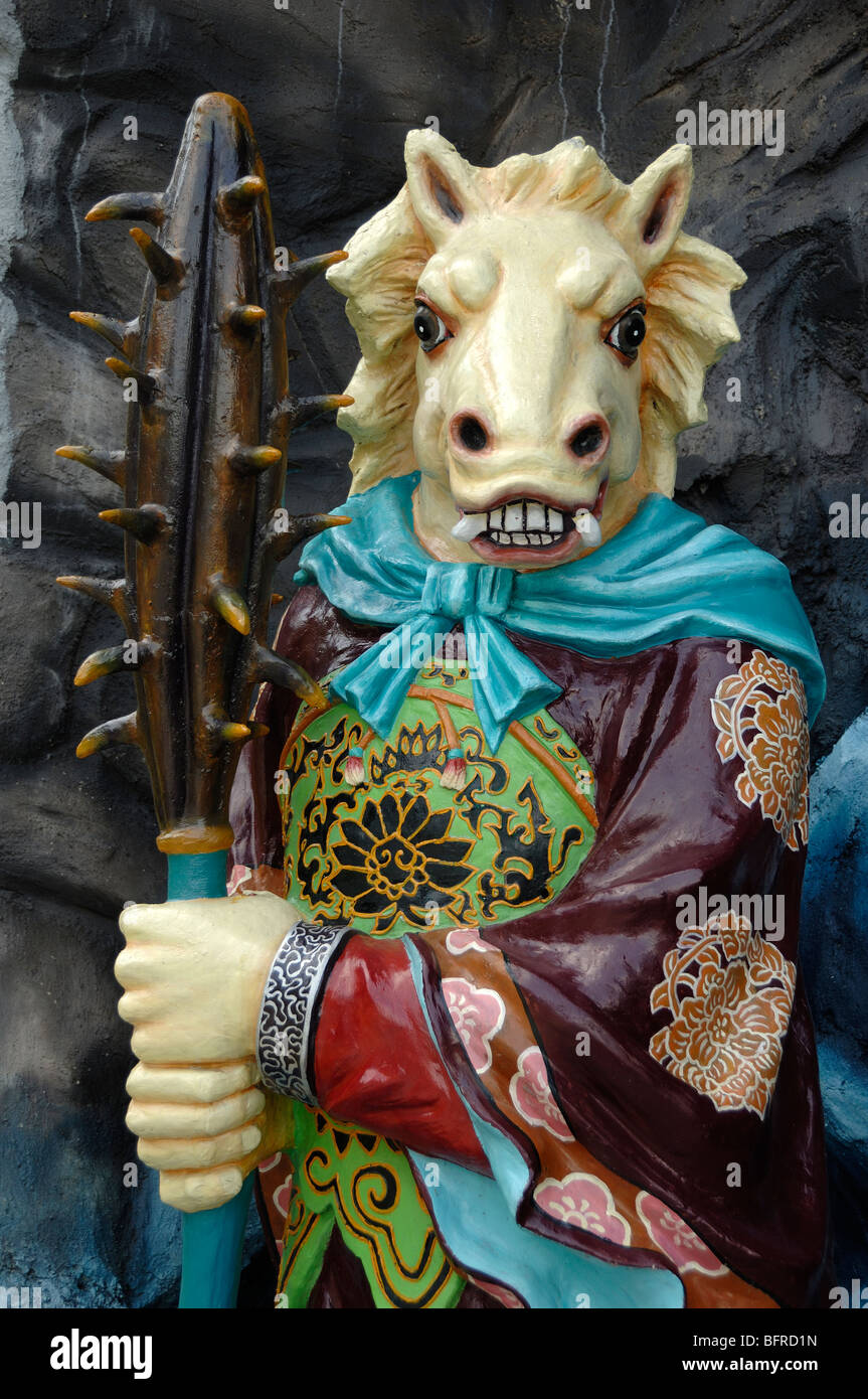Statue of Horse-Face, Guardian of Hell, Ten Courts of Hell, Tiger Balm Gardens Theme Park, Singapore - Stock Image
