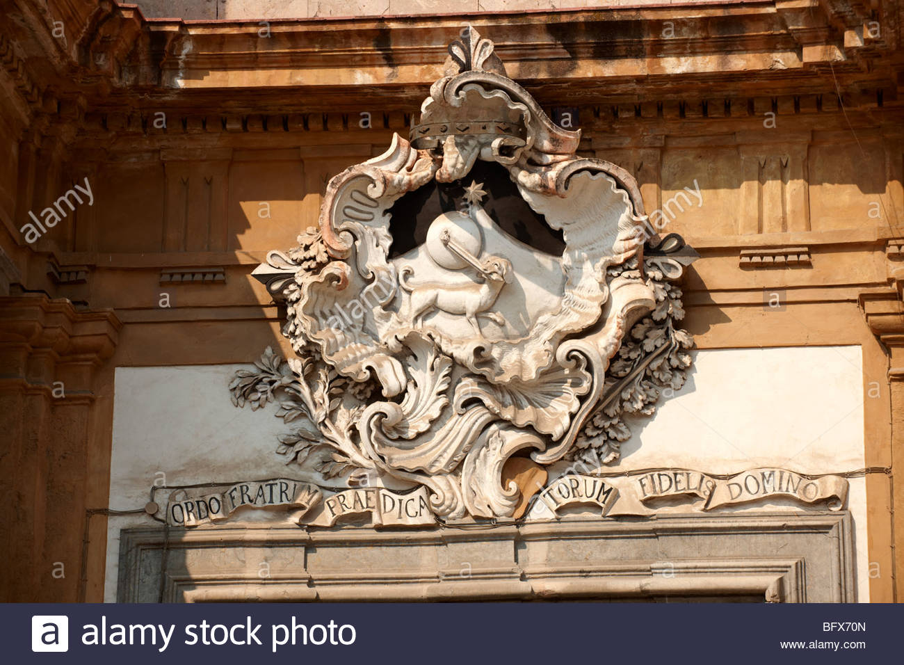 Baroque sculptures, architectural decoration, Palermo Sicily - Stock Image