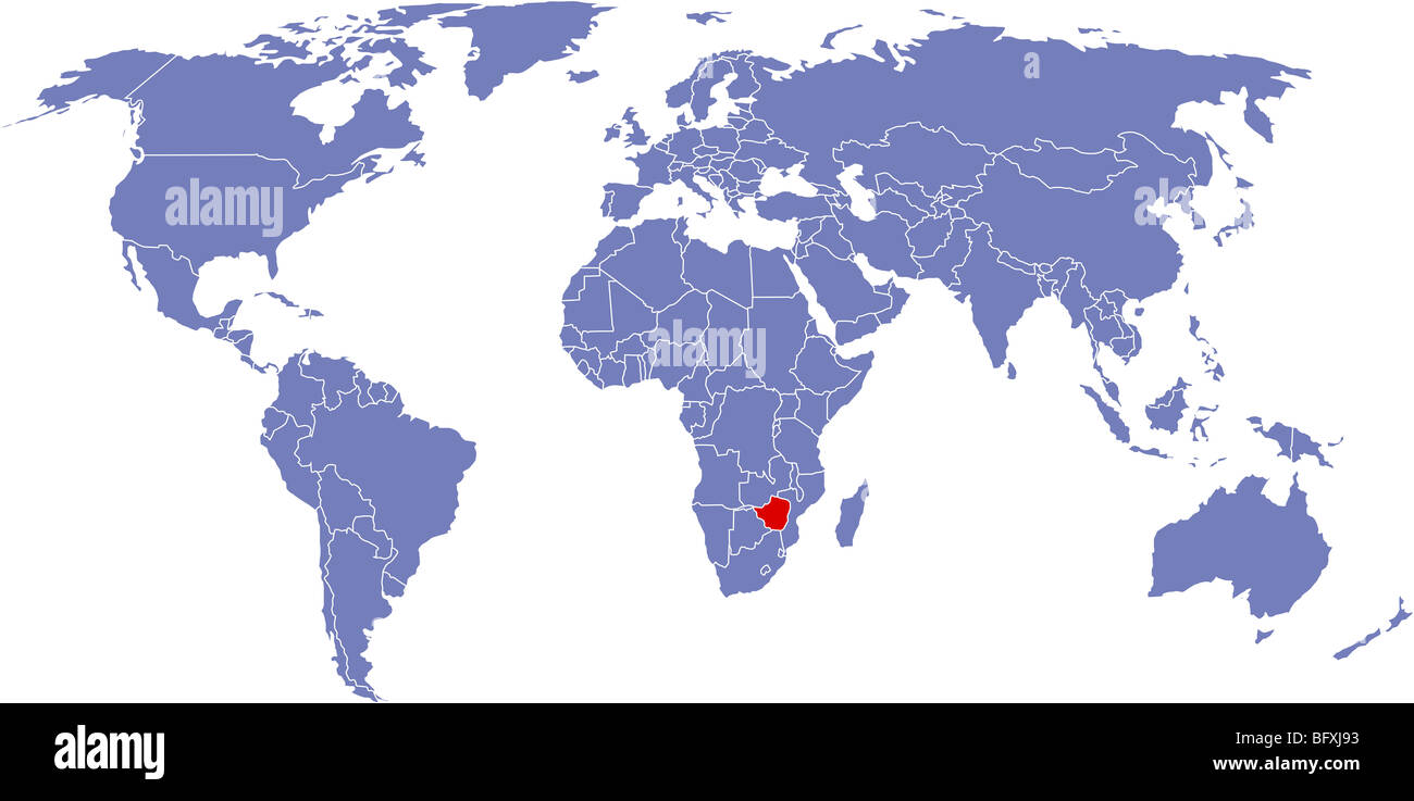 There is a global map of world, Zimbabwe Stock Photo: 27015327 - Alamy