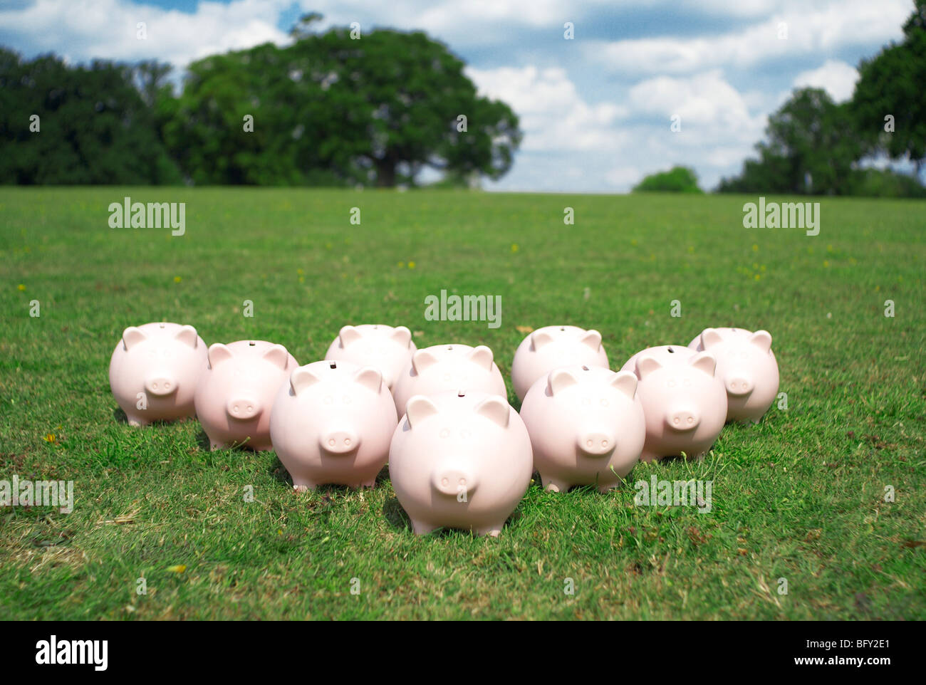 piggy banks in a park - Stock Image