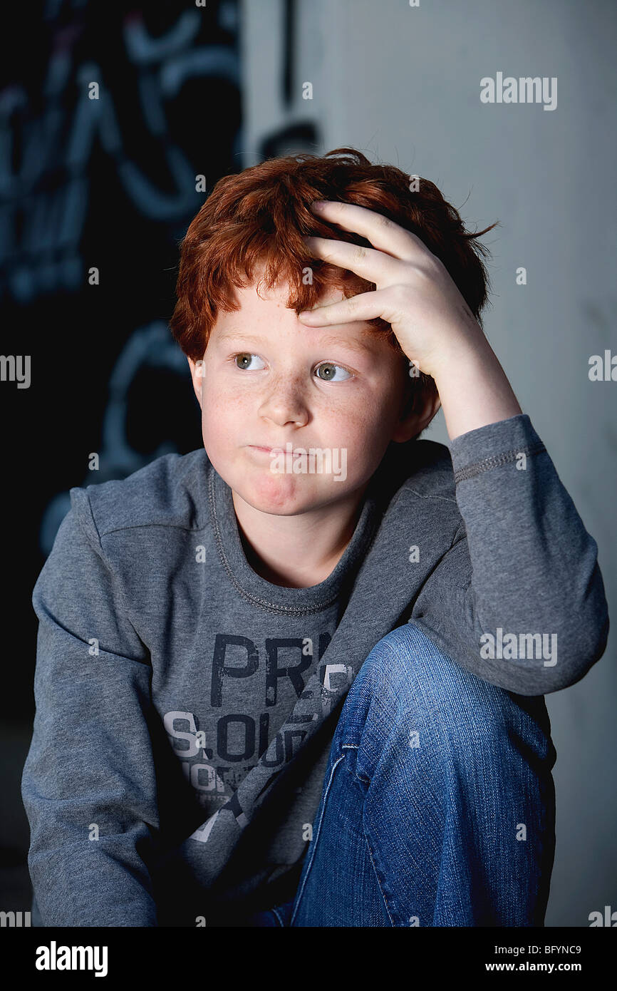 portrait of red haired boy - Stock Image