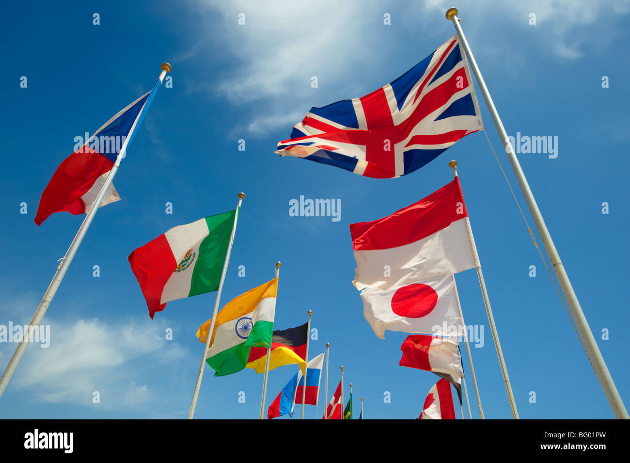 Union Jack and other world countries International flags flying - Stock Image
