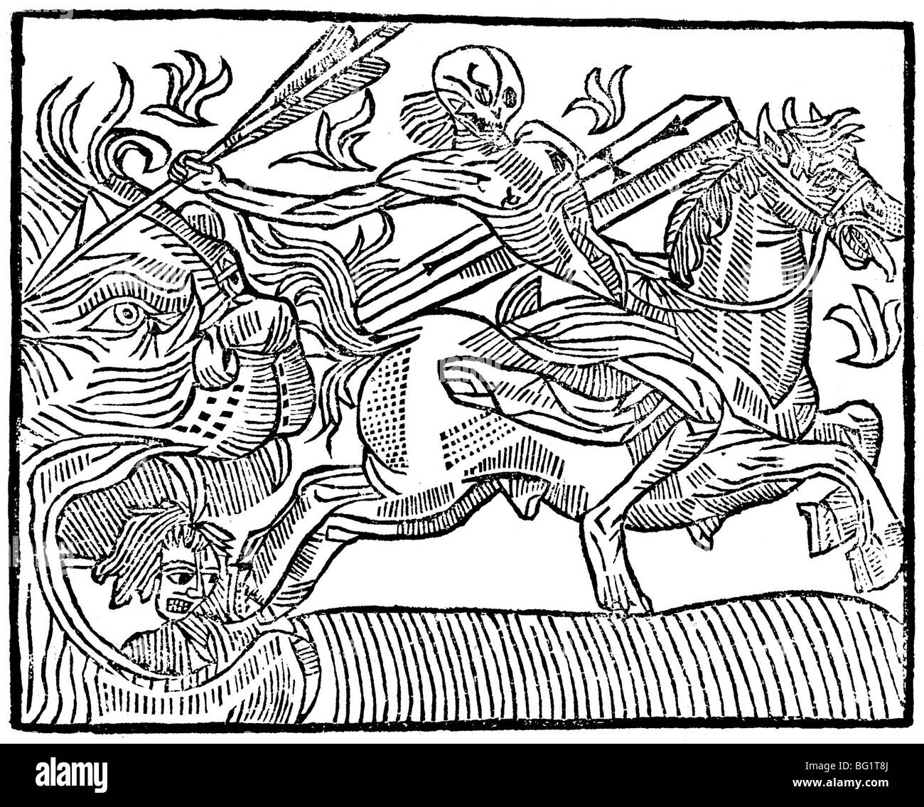 ST ANTHONY'S FIRE !5th century woodcut showing in the form of Death on horseback - Stock Image