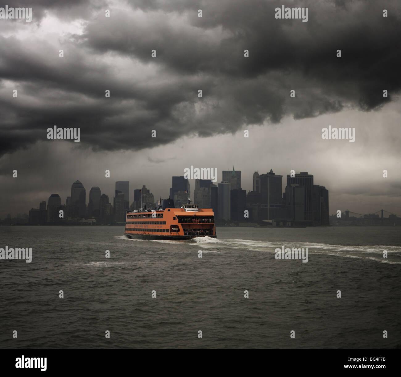 Staten Island ferry sailing towards Manhattan, New York, United States of America, North America - Stock Image