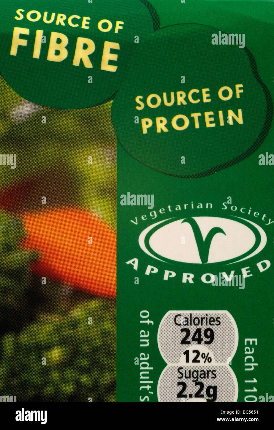 Vegetarian Food Label - Stock Image