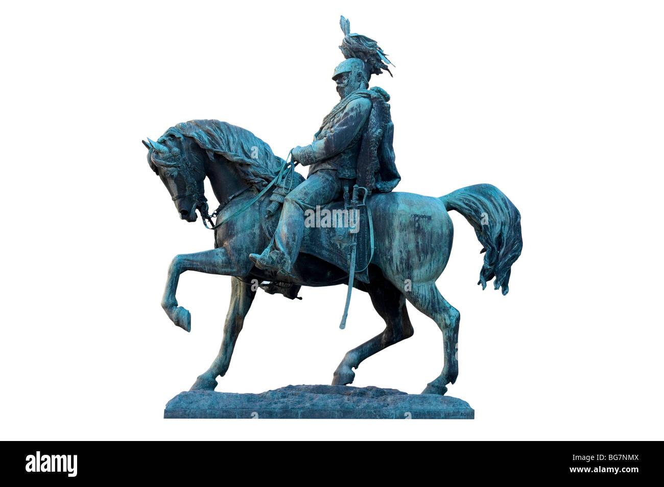 Equestrian statue of Vittorio Emanuele II in Perugia, Italy - Stock Image