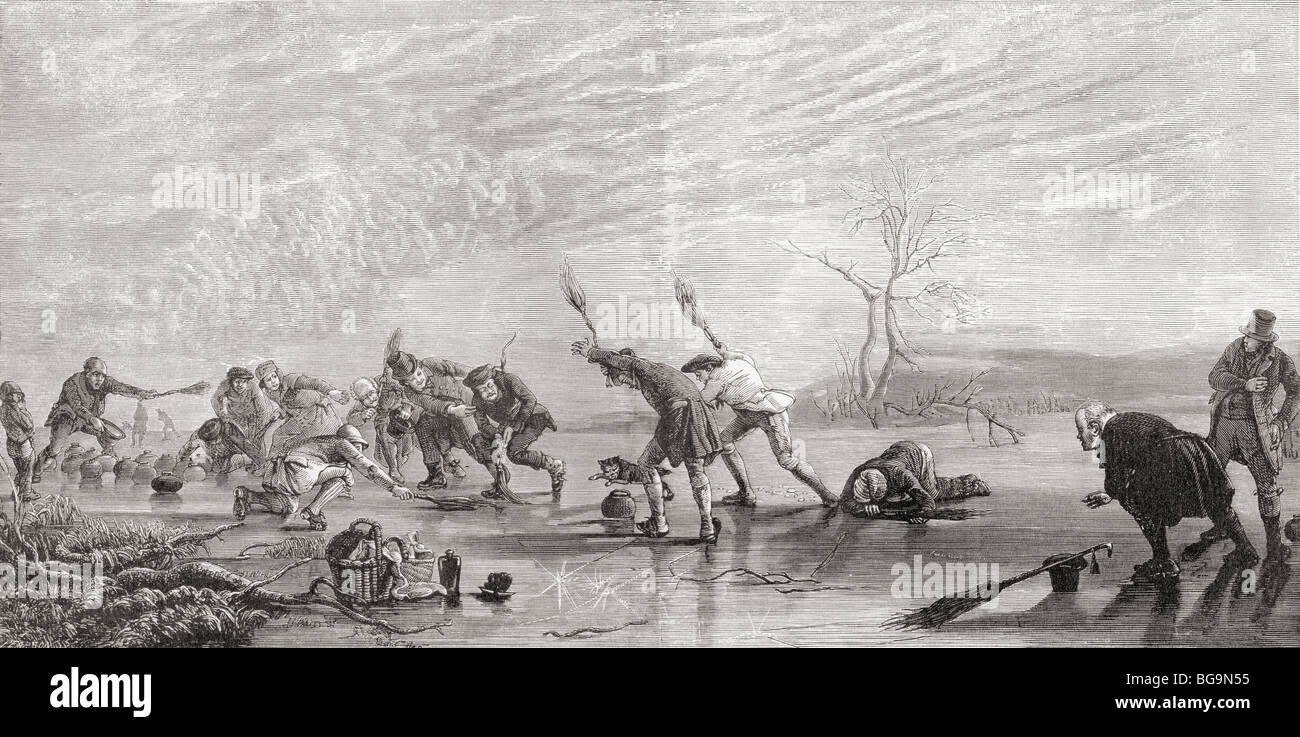 Curling in the 19th century. - Stock Image