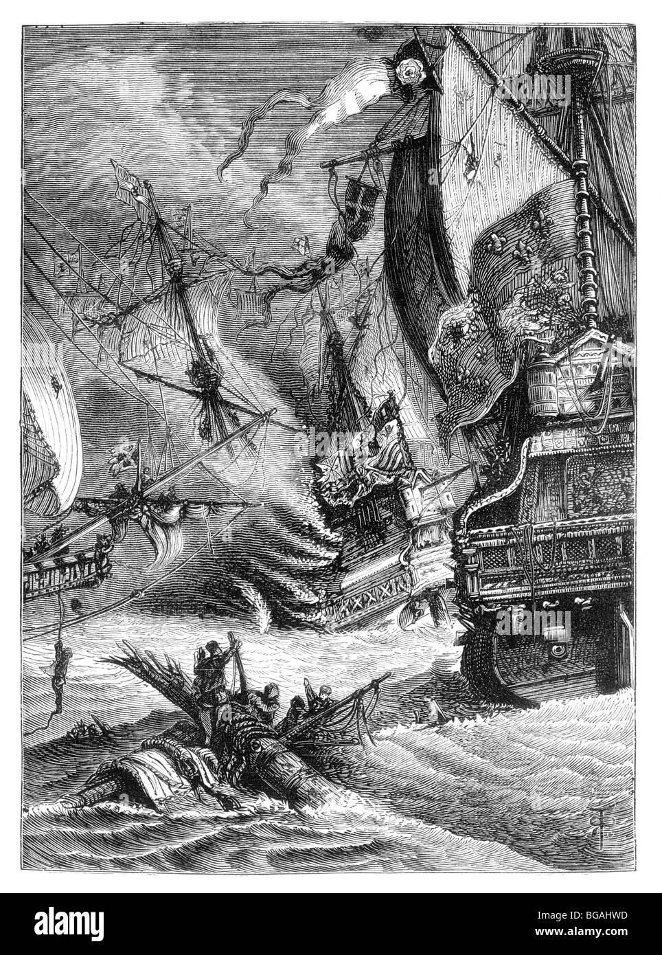 Illustration; The destruction of the Spanish Armada by the English Fleet, 1588 - Stock Image