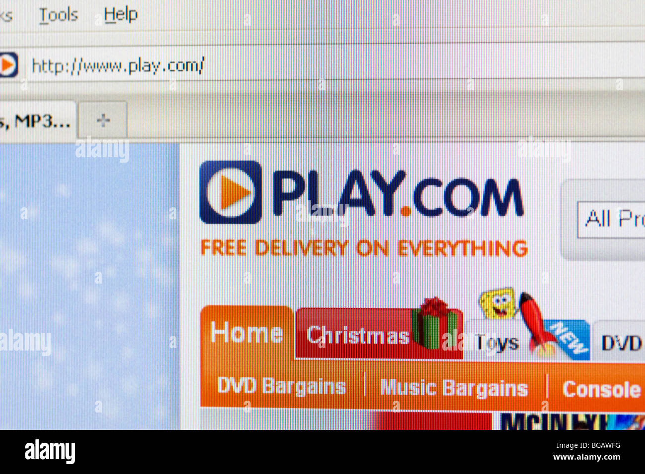 screenshot of play.com online retailer website showing christmas logo and tab for editorial use only - Stock Image