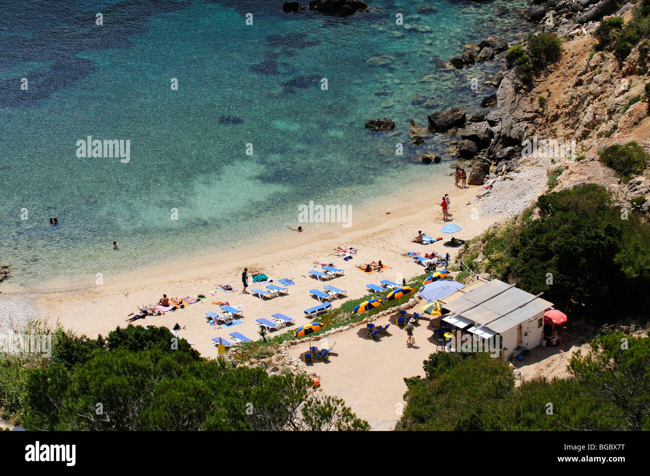 Beach, Cala d'en Serra, Portinatx, Ibiza, Pine Islands, Balearic Islands, Spain, Europe Stock Photo