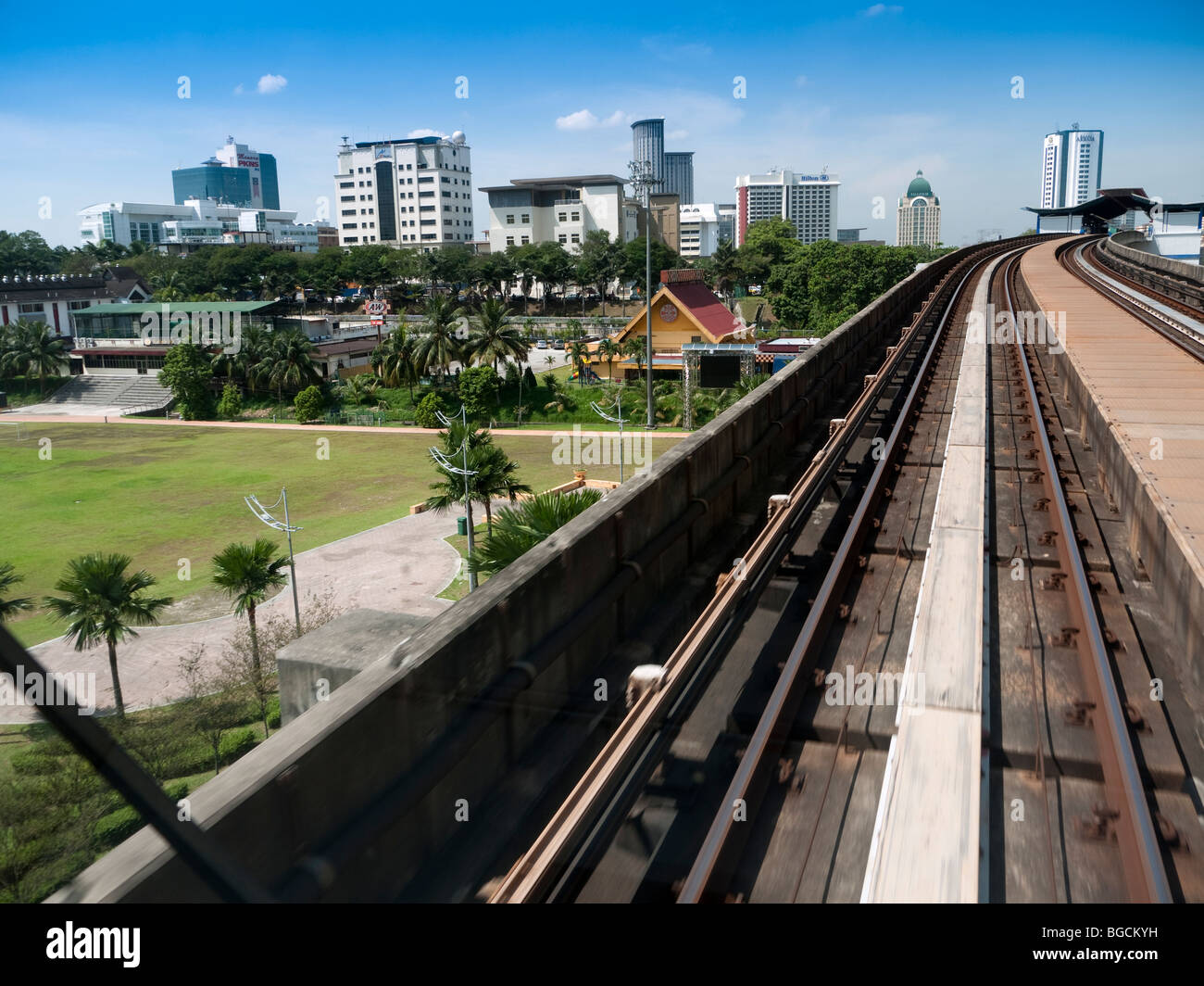 View from monorail from Petaling Jaya to Kuala Lumpur - Stock Image