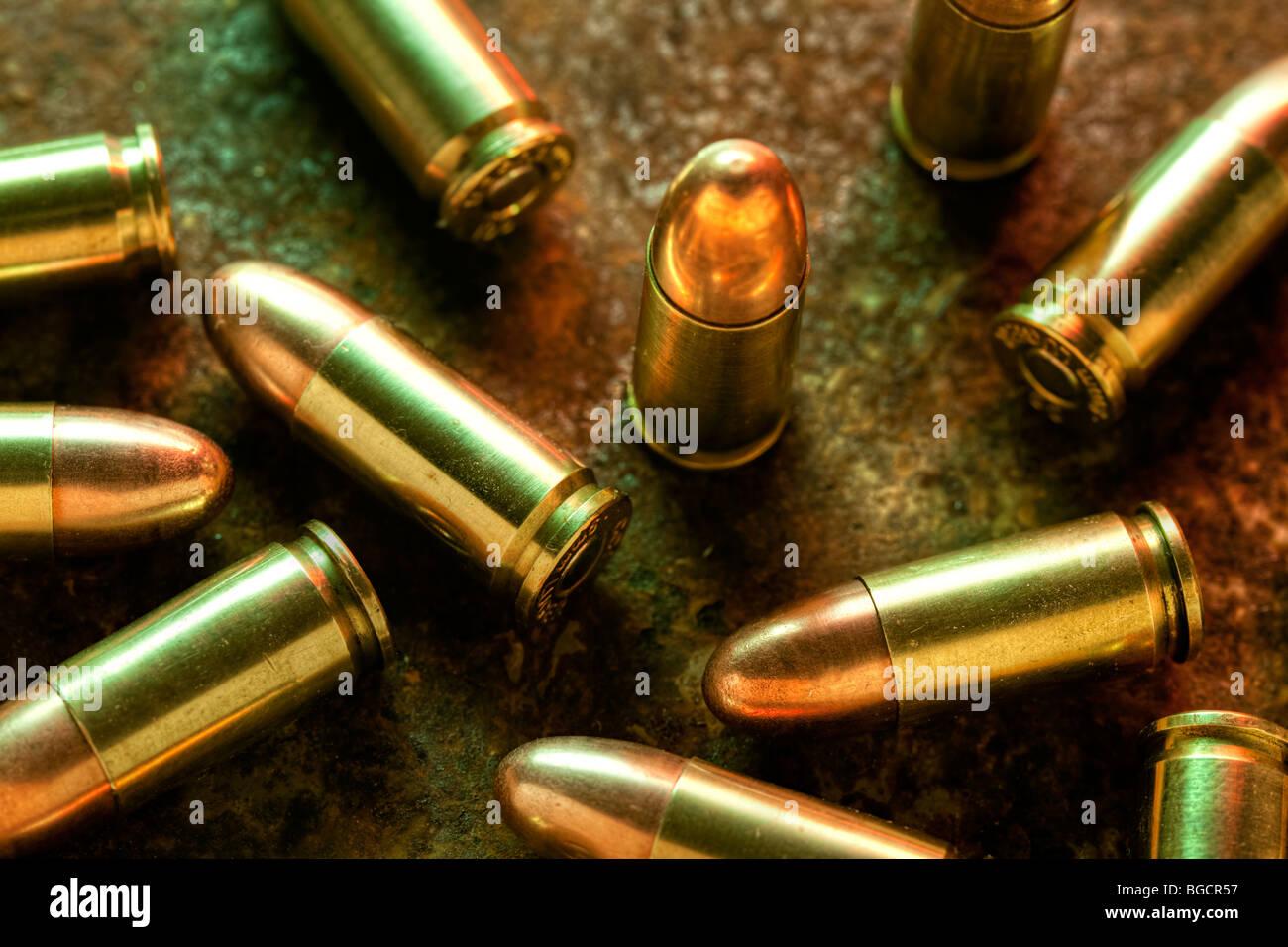 9mm cartridges - Stock Image