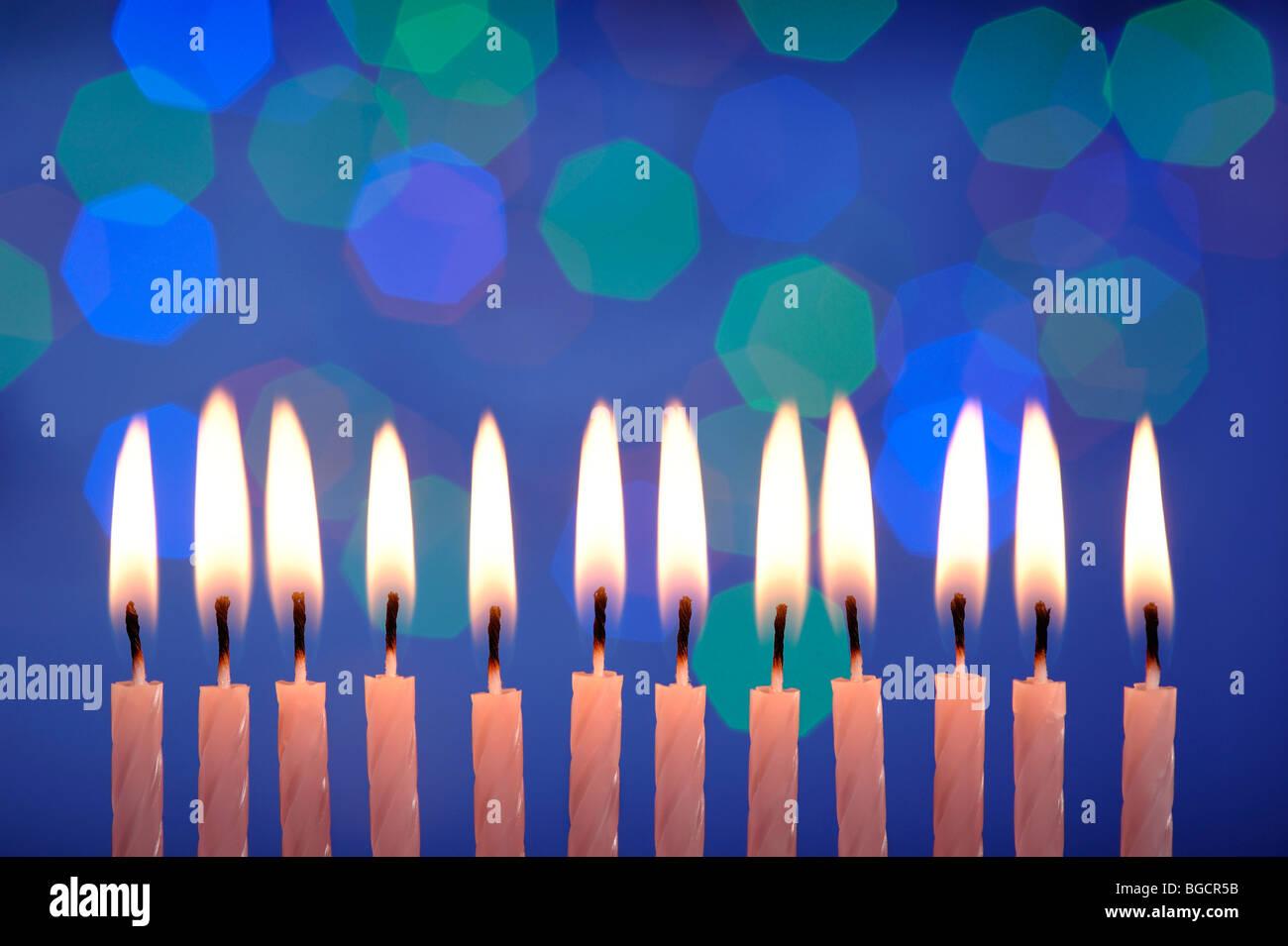 12 birthday candles - Stock Image