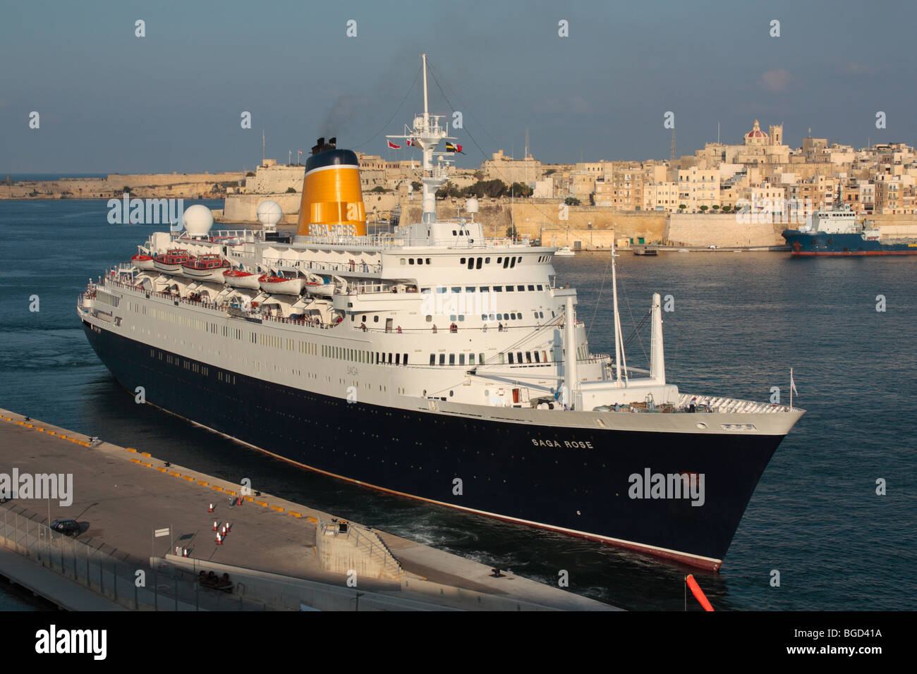 Mediterranean travel and tourism. The cruise liner Saga Rose leaving Malta's Grand Harbour - Stock Image