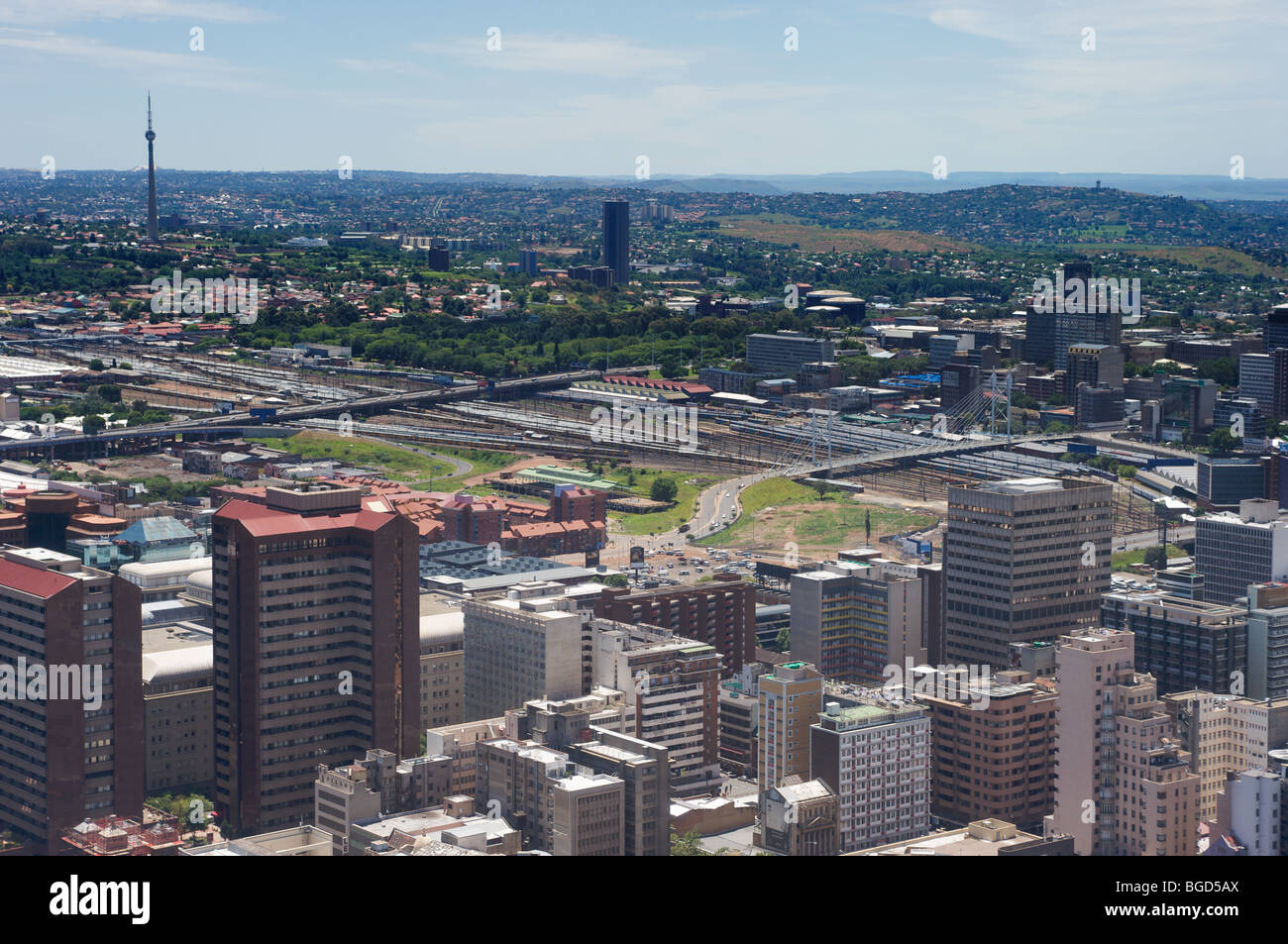 North-West view from top of Carlton Centre, Johannesburg, South Africa, of downtown Johannesburg - Stock Image