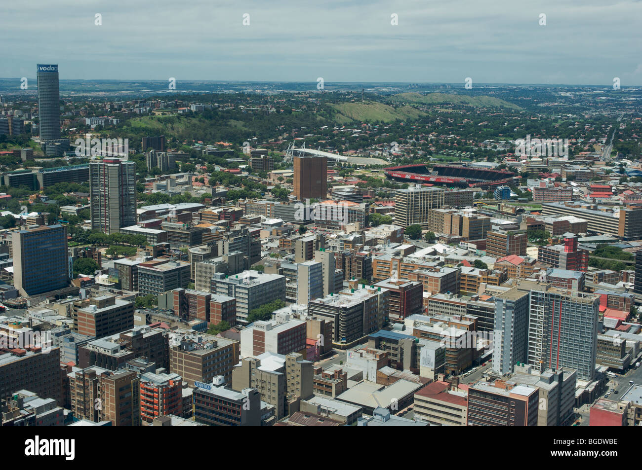 North-East view from top of Carlton Centre, Johannesburg, South Africa, of downtown Johannesburg - Stock Image