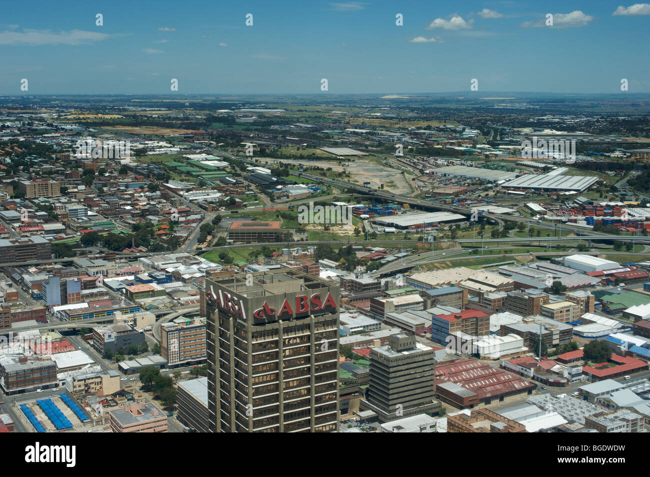 South-East view from top of Carlton Centre, Johannesburg, South Africa, of downtown Johannesburg - Stock Image