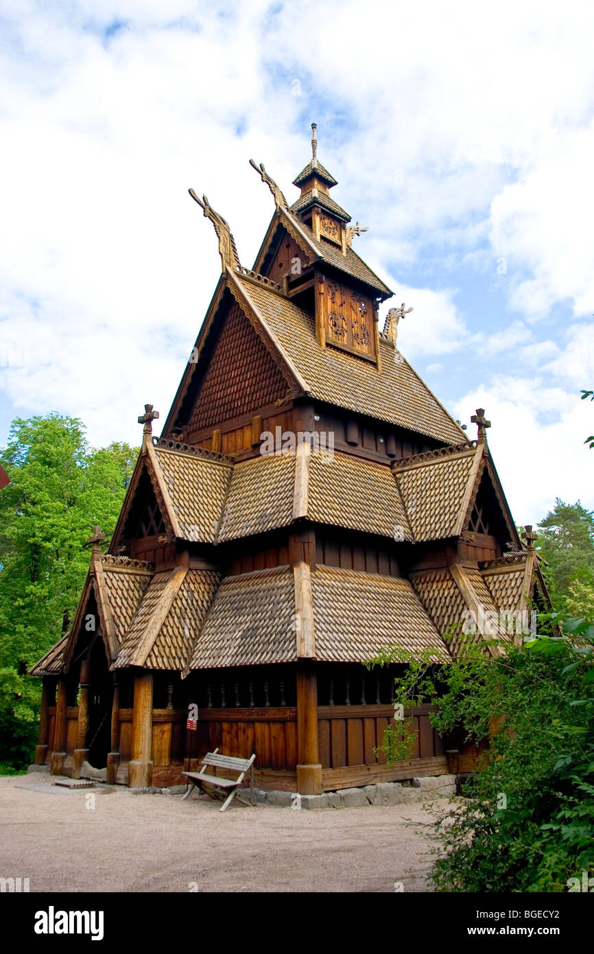 The 12thC Gol Stave Church is well preserved at the Norwegian Museum of Cultural History Norsk Folkenmuseum in Oslo - Stock Image