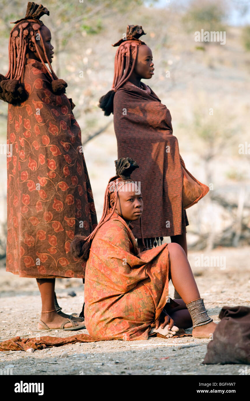 Young girls of the Himba tribe, northern Namibia - Stock Image