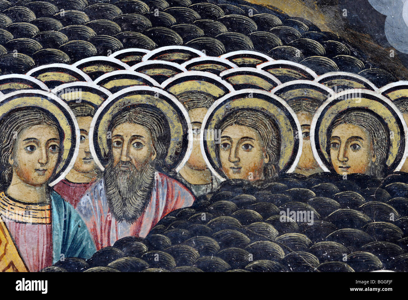 Rila Monastery fresco with detail of saints - Stock Image