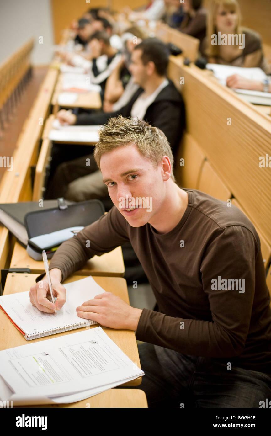 Student studying at Viadrina European University, Frankfurt/Oder, Brandenburg, Germany, Europe - Stock Image