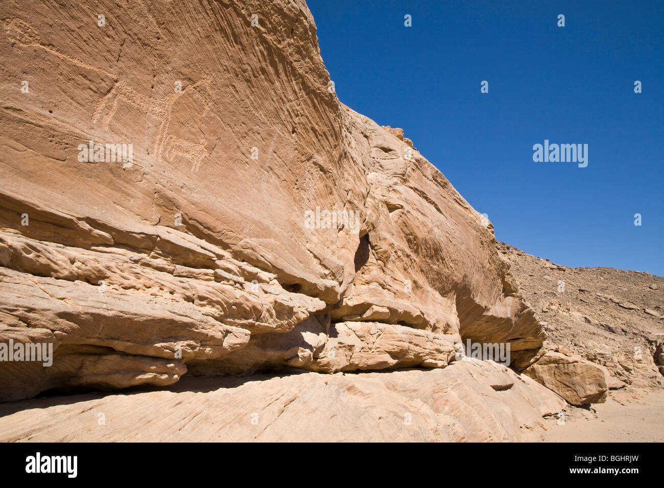 Wadi floor and cliff face showing ancient rock-art in the Eastern Desert of Egypt. - Stock Image