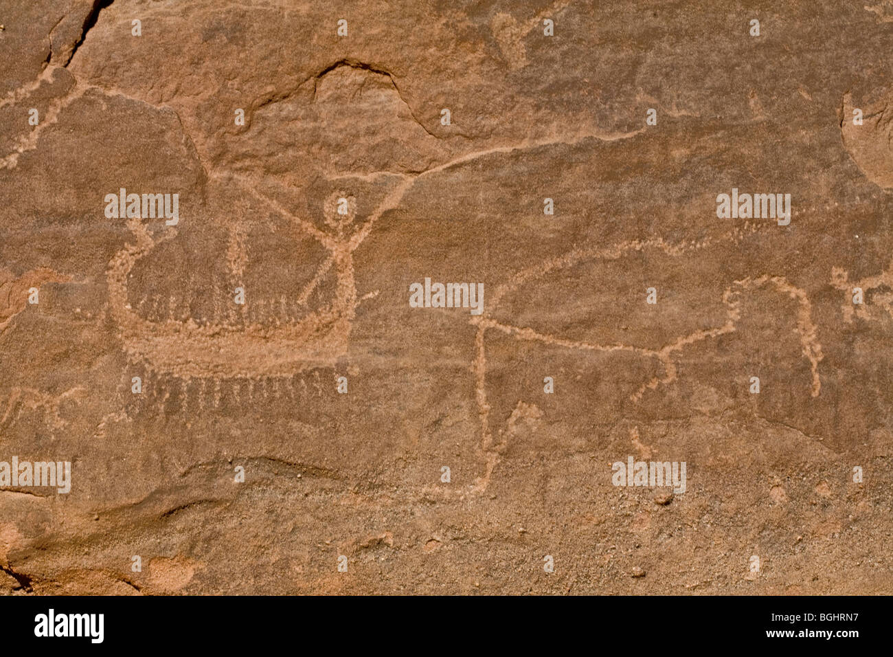 Close up of one of the boats at Winklers famous Rock-Art site 26 in Wadi Abu Wasil in the Eastern Desert of Egypt. - Stock Image