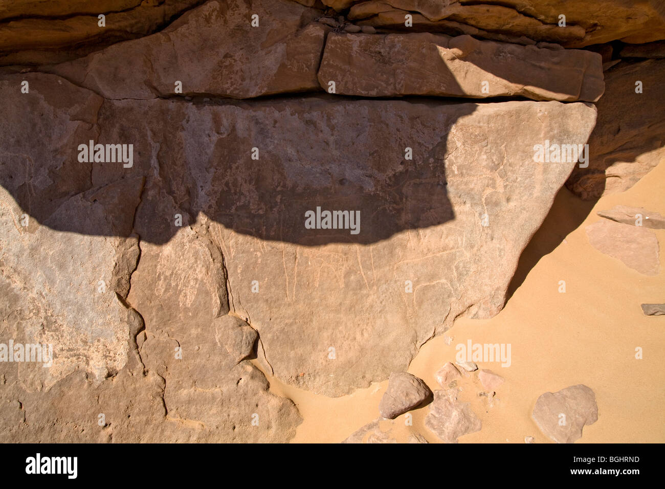 Close up of some of the images at Winklers famous Rock-Art site 26 in Wadi Abu Wasil in the Eastern Desert of Egypt. - Stock Image