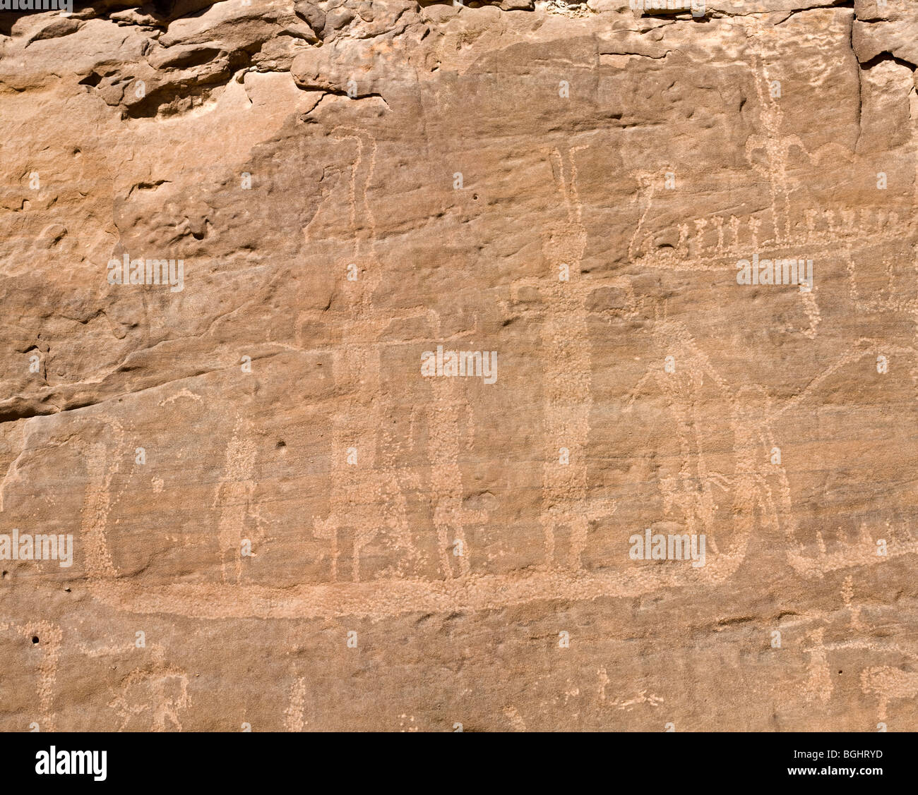 Winklers famous Rock-Art site 26 in Wadi Abu Wasil in the Eastern Desert of Egypt. - Stock Image