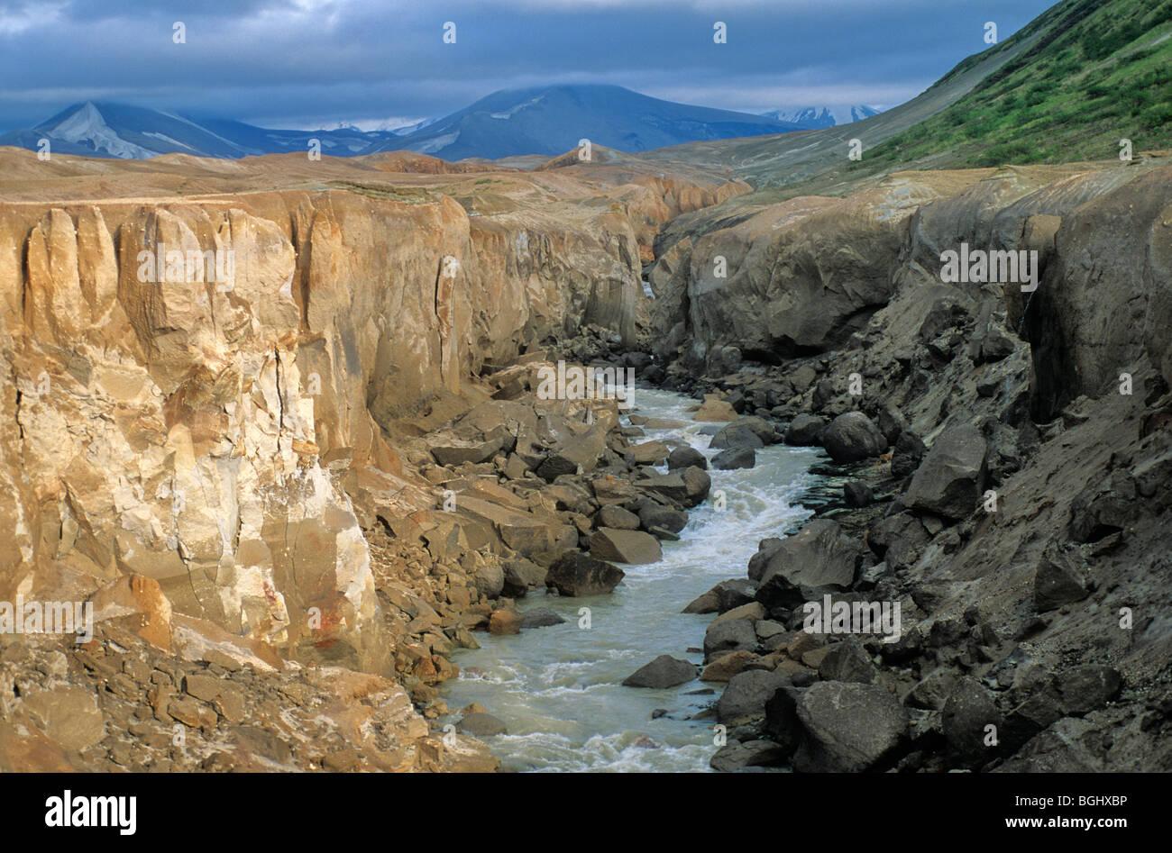 River Lethe carves canyon through ash deposits in Valley of Ten Thousand Smokes, Katmai National Park, Alaska, USA - Stock Image