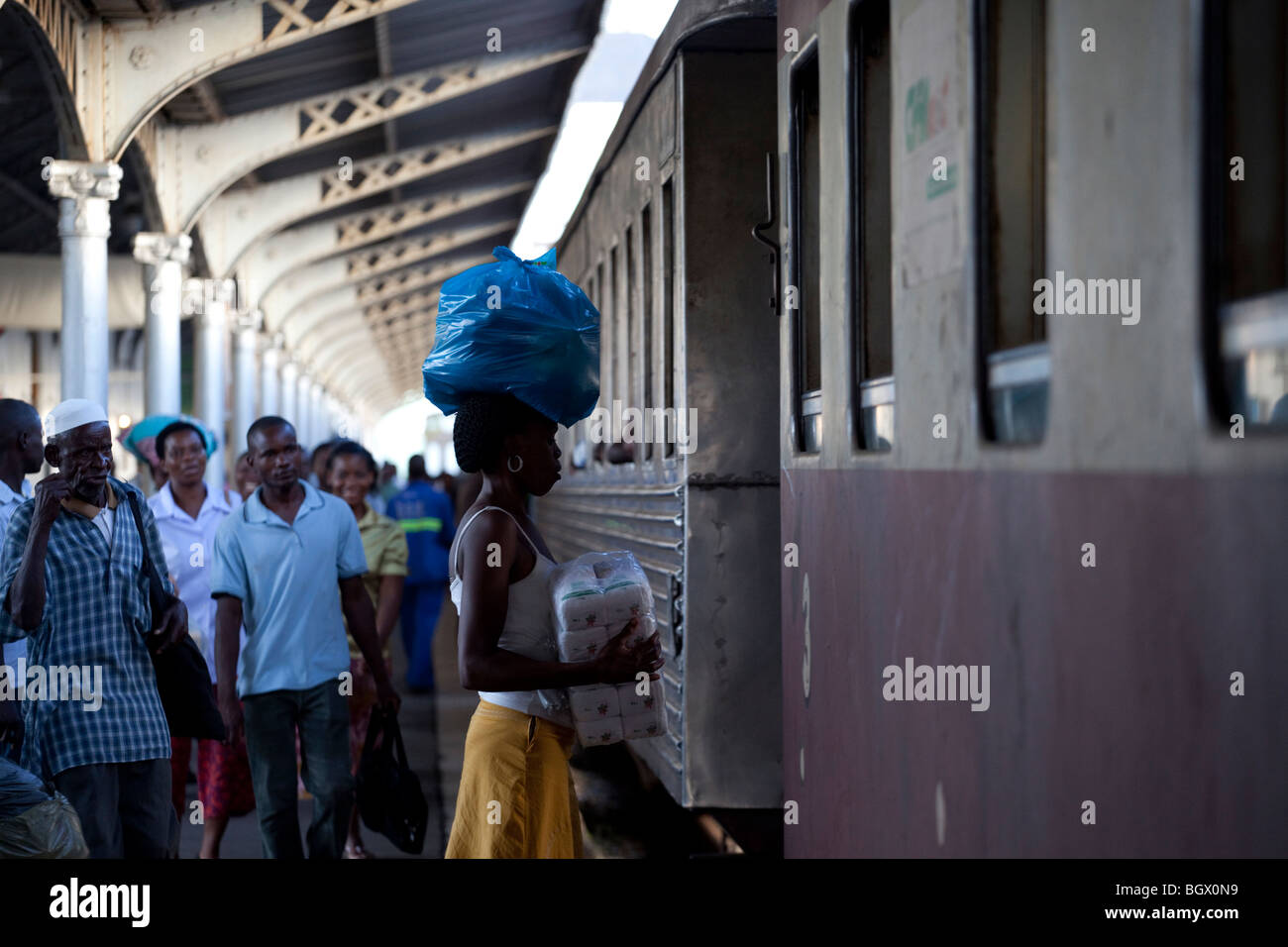 inside the Maputo train station, Mozambique - Stock Image