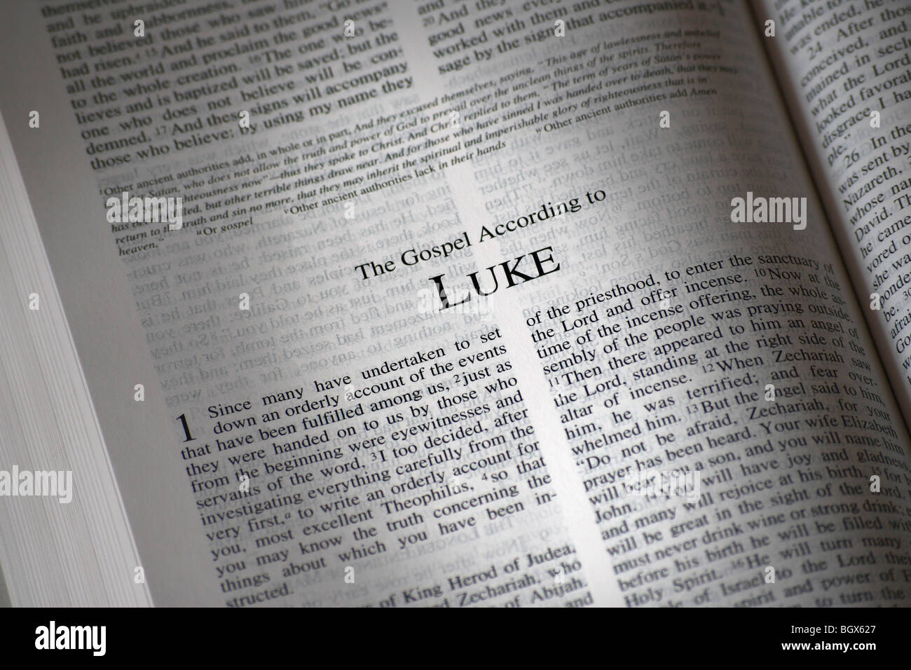 the bible opened to the book of luke stock photo 27620383 alamy