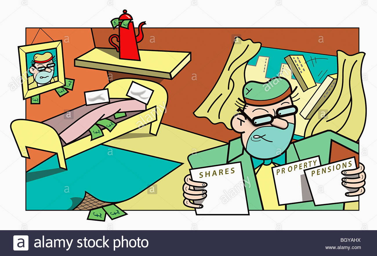 Man worried about investments - Stock Image