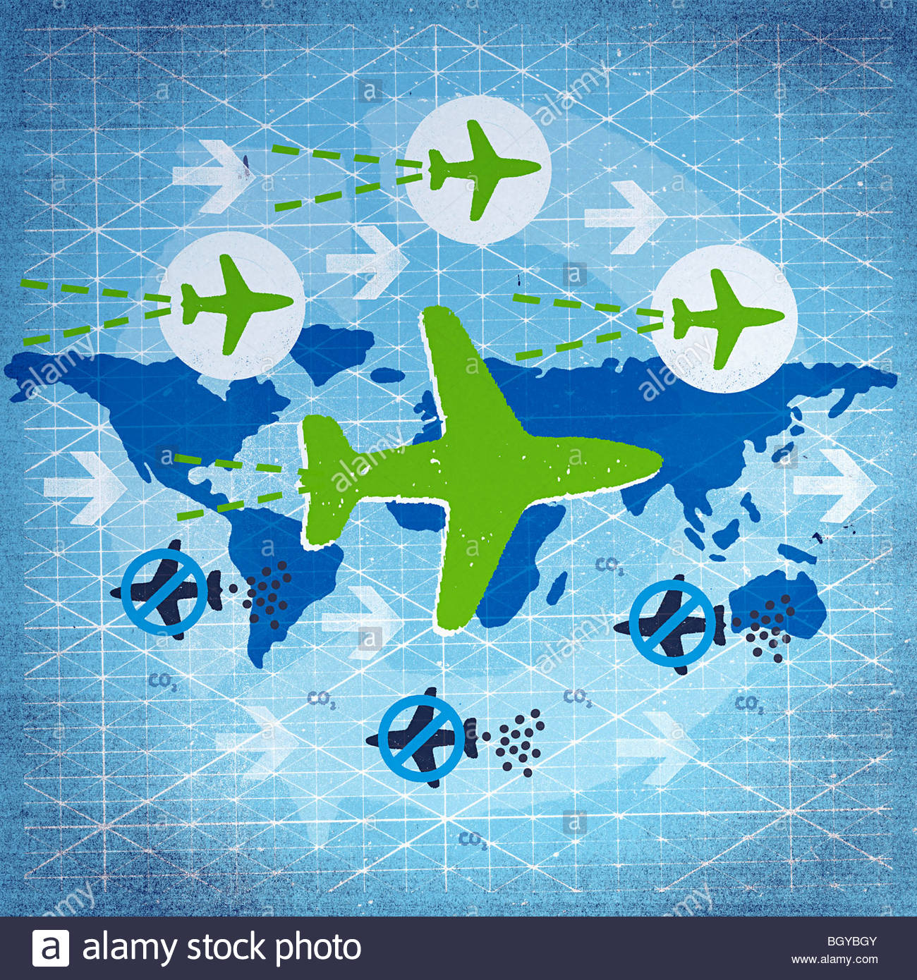 Airplanes flying over globe - Stock Image